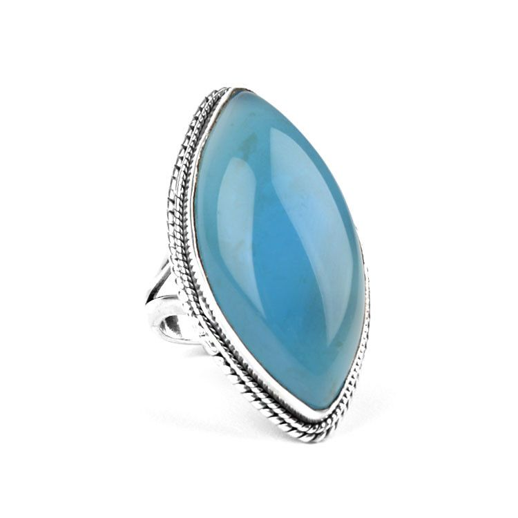 Blue Chalcedony Pointed Ellipse Ring
