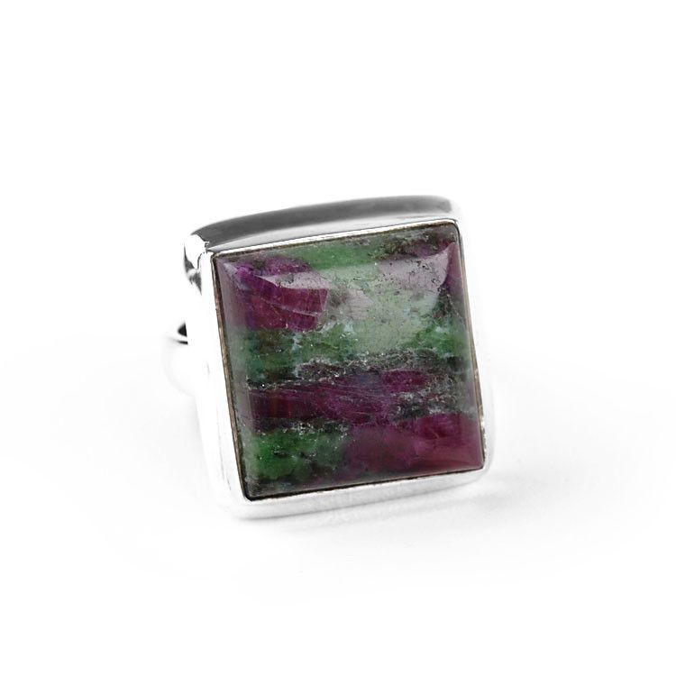 Ruby-Zoisite Square Ring
