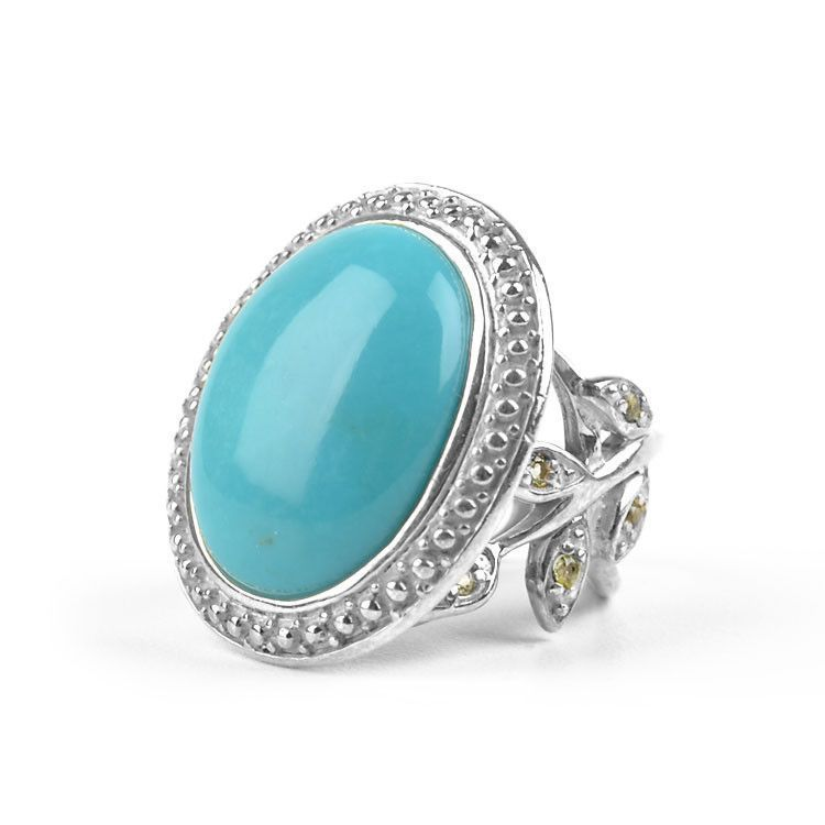 Unique Turquoise Cocktail Ring - Adjustable Size 8+