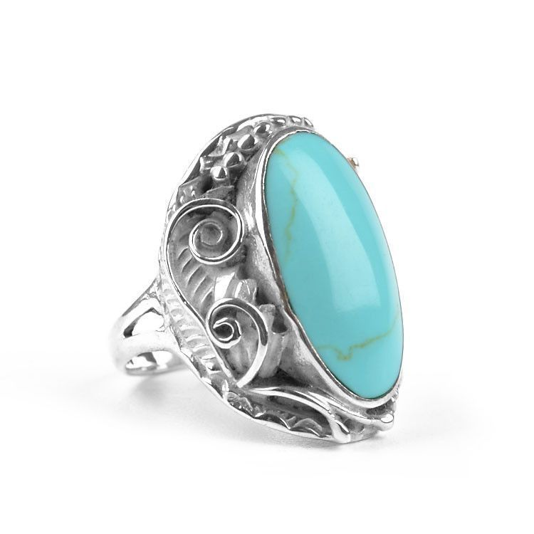 Comfy Turquoise & Silver Foliage Ring