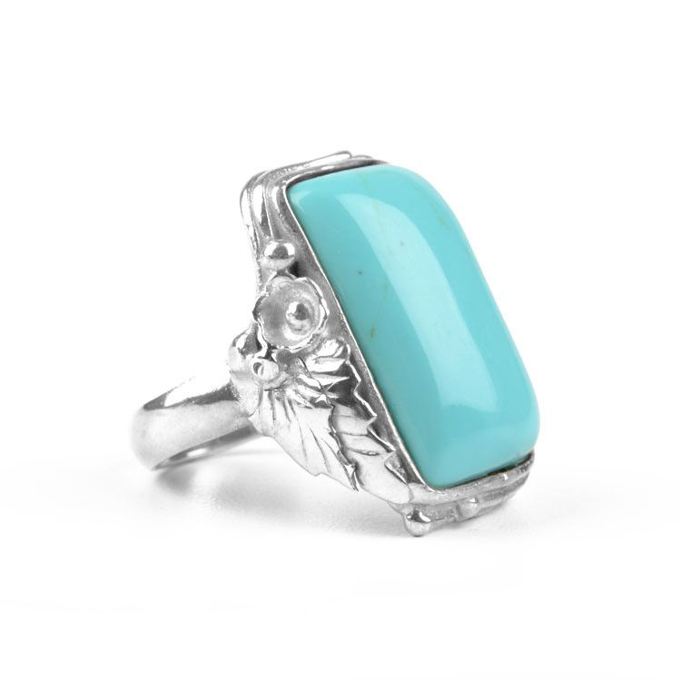 Rectangle Turquoise with Silver Leaves Ring