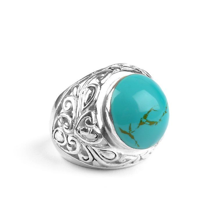 Opulent Round Turquoise & Silver Ring