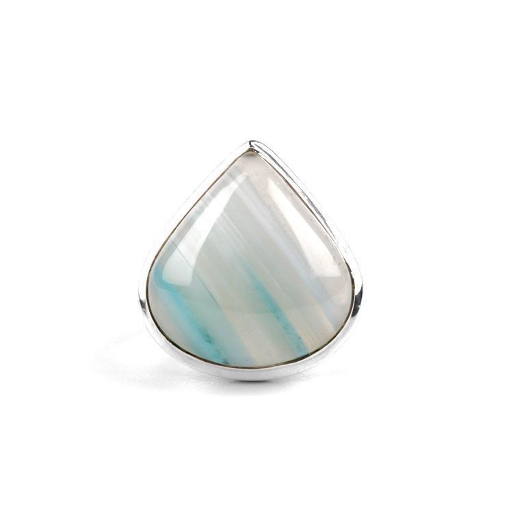 Blue Banded Agate Ring