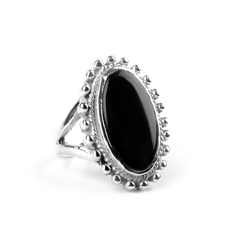Black Onyx Gemstone in Silver Ring