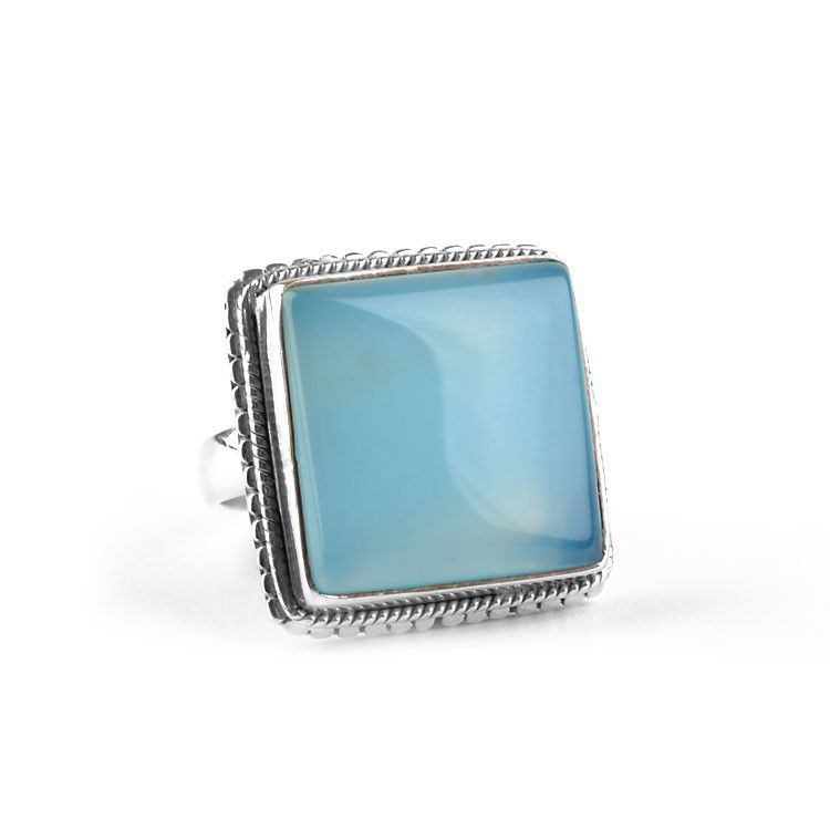 Square Chalcedony Gemstone Ring
