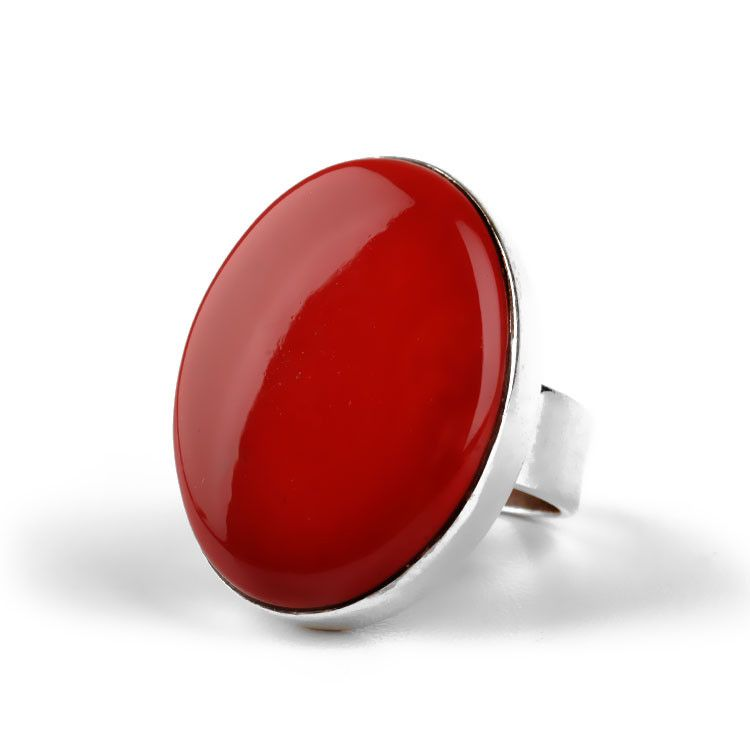 Large Oval of Coral Gemstone Ring