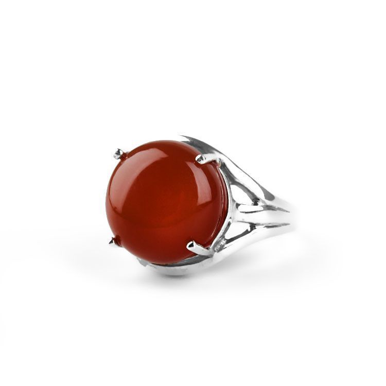 Elegant 4 Prong Carnelian Gemstone Ring