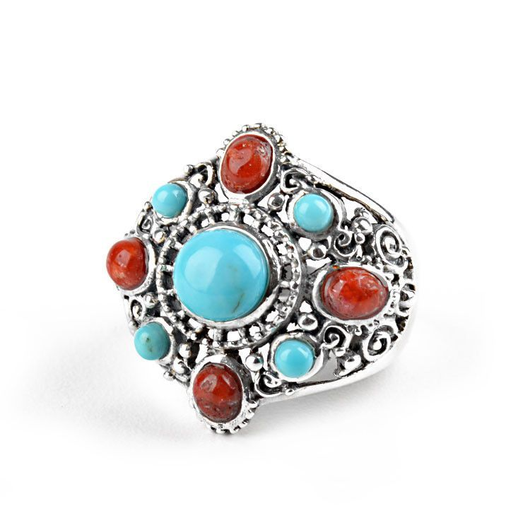 Turquoise & Coral in Silver Ring
