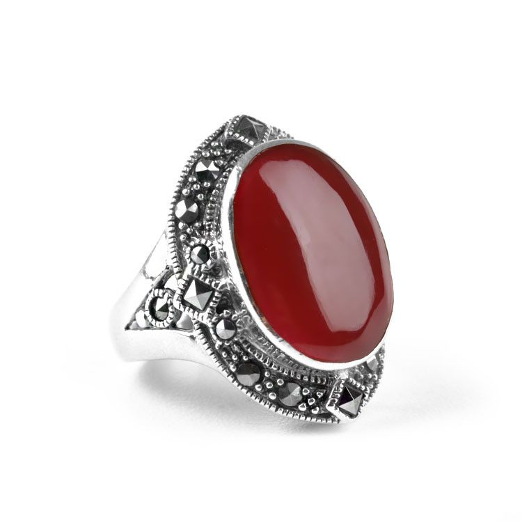 Exquisite Carnelian & Marcasite Ring