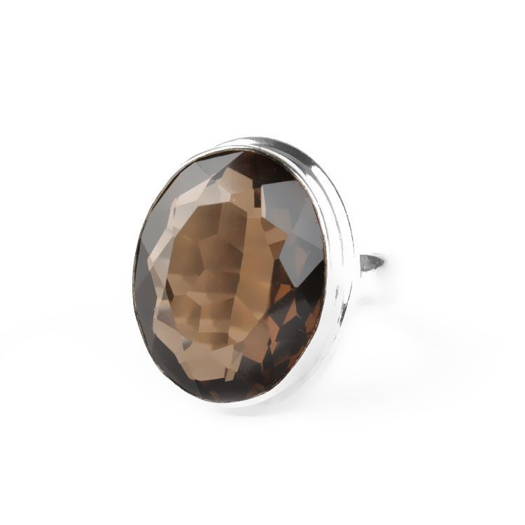 Oval Cut Smokey Quartz Ring
