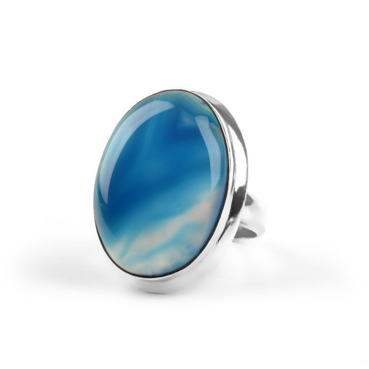 Blue Banded Agate Gemstone Ring