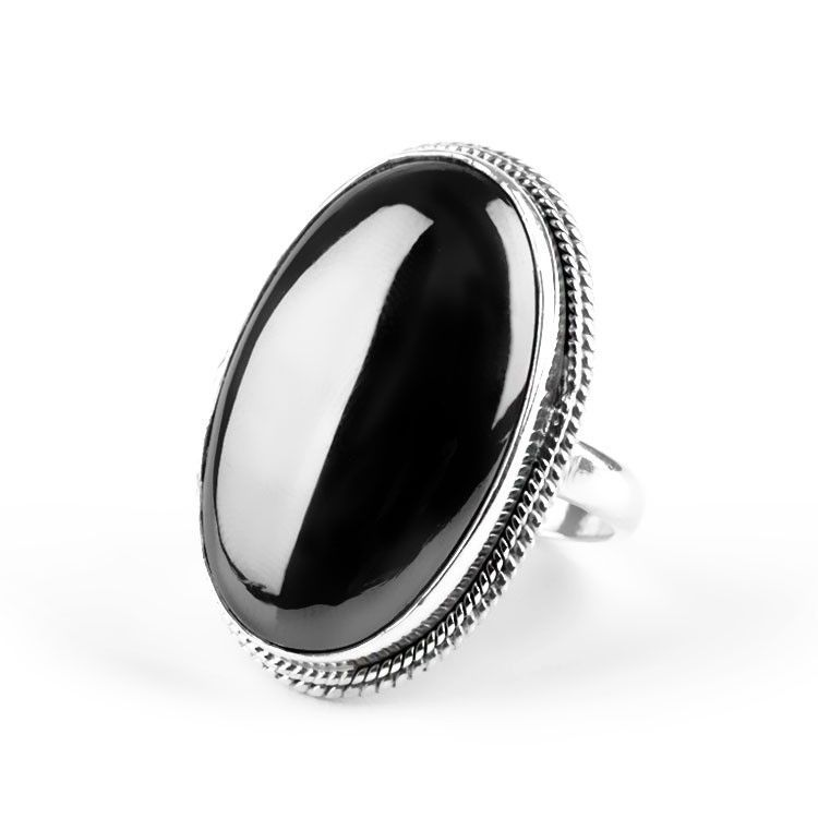 Large Hematite Gemstone Ring
