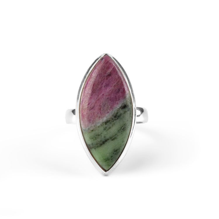 Ruby Zoisite Marquee Shape Gemstone Ring