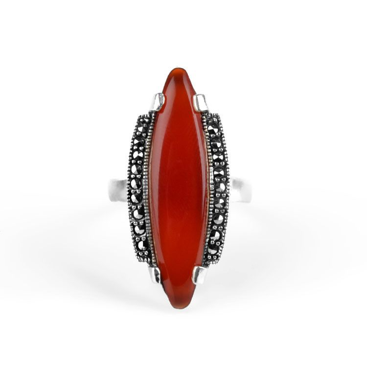 Fancy Carnelian & Marcasite Ring