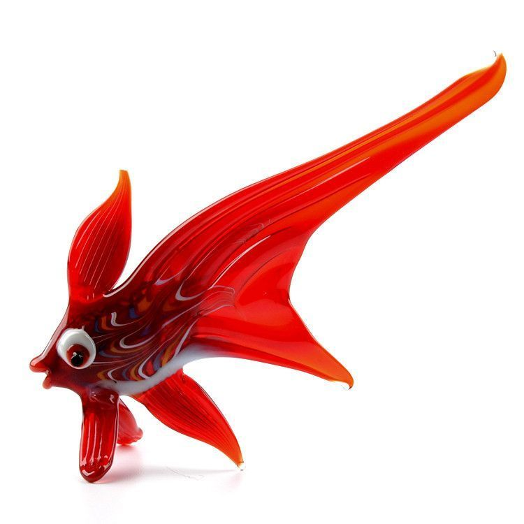 Red Valelecht Fish Glass Figurine