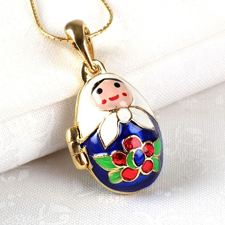 Matryoshka with Baby Faberge Egg Locket