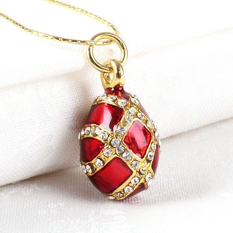 Small Red Faberge Egg Pendant