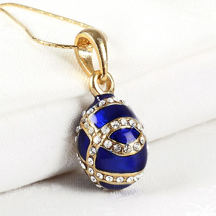 Small Blue Faberge Egg Pendant