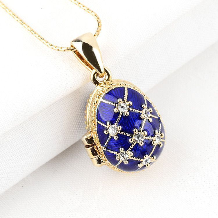 Blue Faberge Egg Locket with Angel