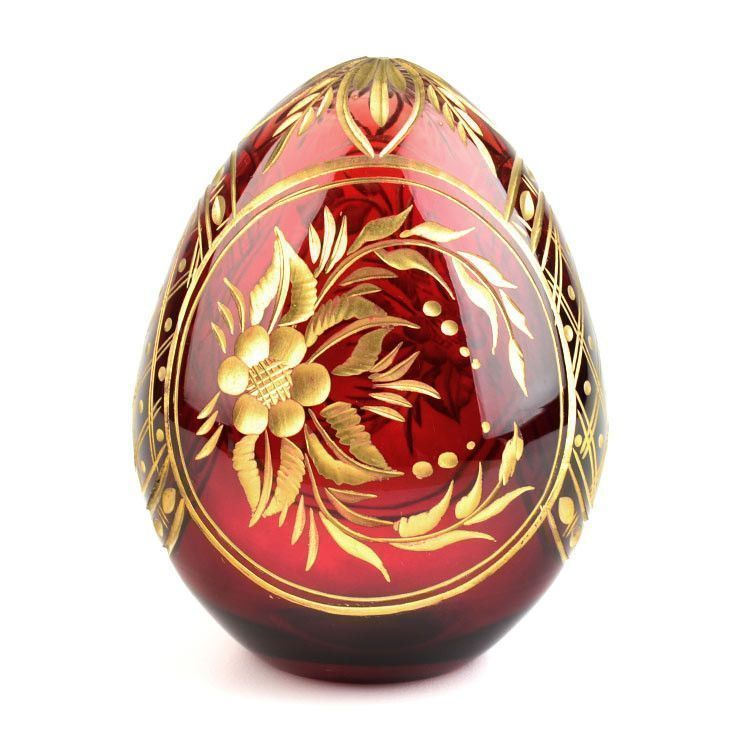 Red and Gold Crystal Faberge Egg from Russia