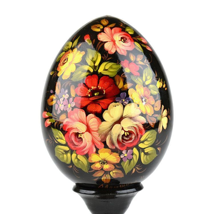 Black Russian Floral Wooden Egg