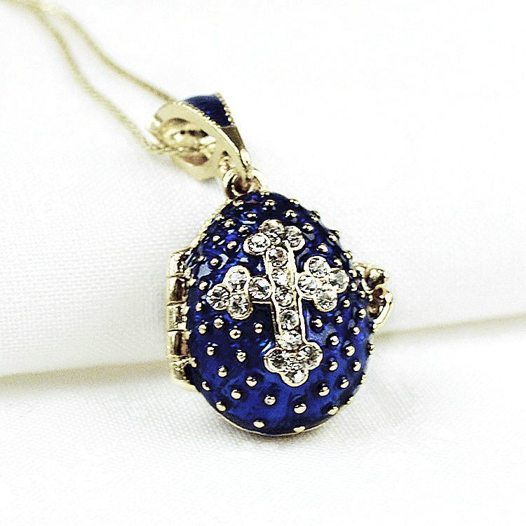 Dark Blue Faberge Egg Locket