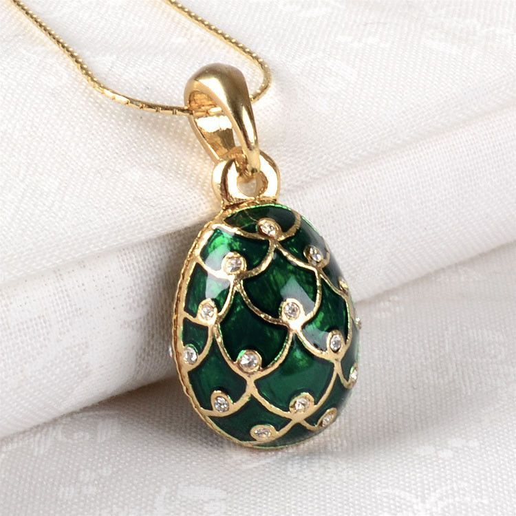 Green & Gold Faberge Egg Pendant