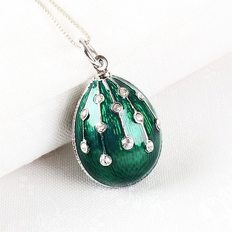 Gorgeous Green Faberge Egg Pendant