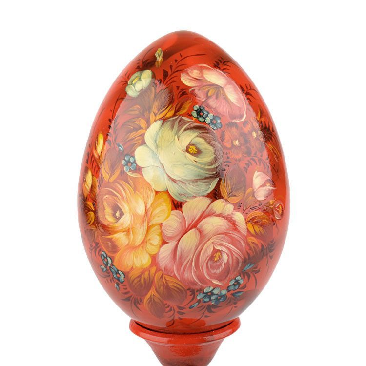 Flowery Wooden Egg