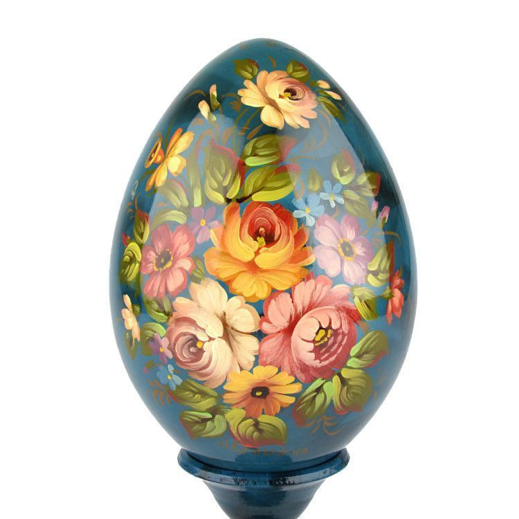 Blue Wooden Egg with Flowers