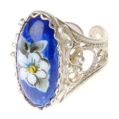 Blue Floral Finift Ring
