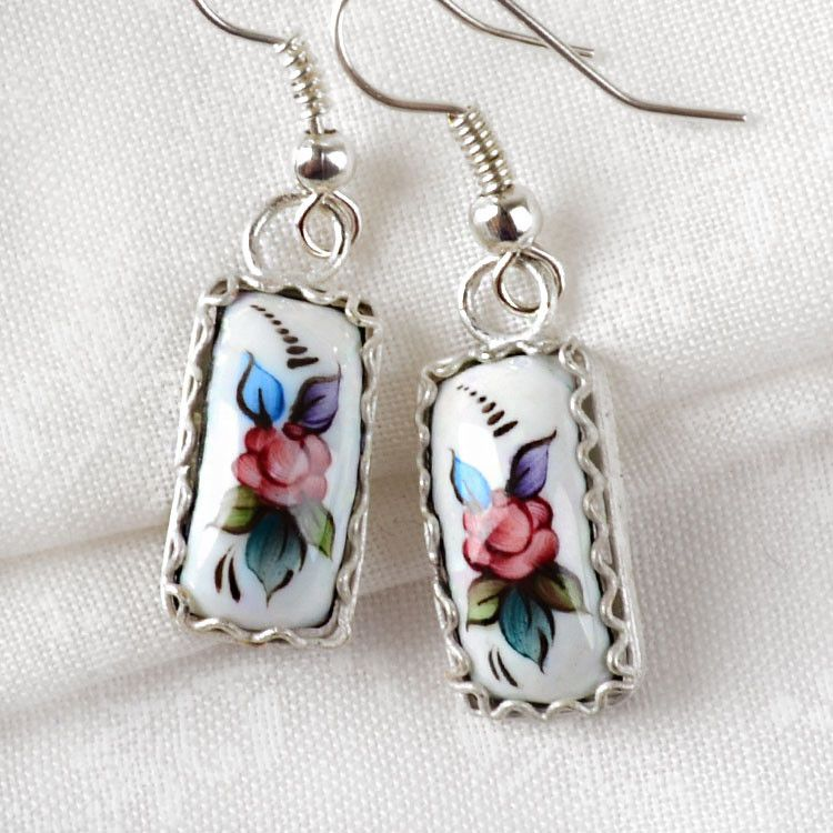 White Floral Finift Earrings