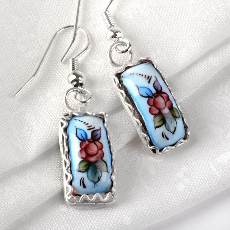 Blue Finift Hook Earrings