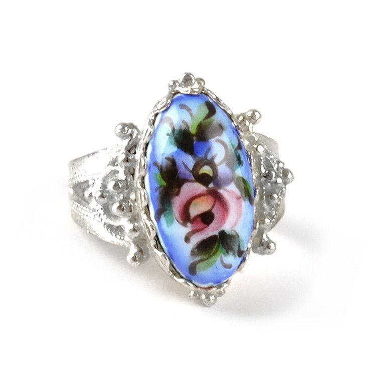 Blue Floral Russian Finift Ring