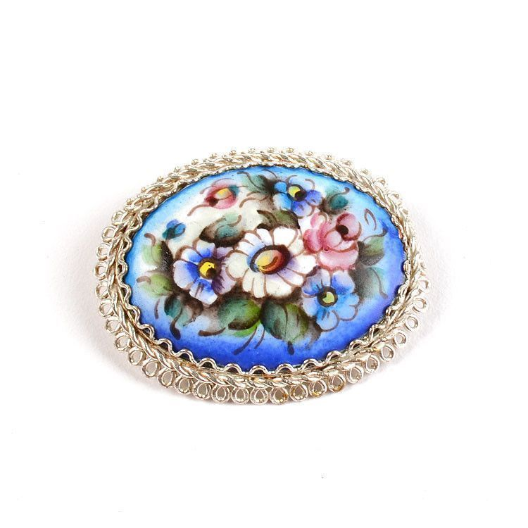 Enameled Blue Brooch