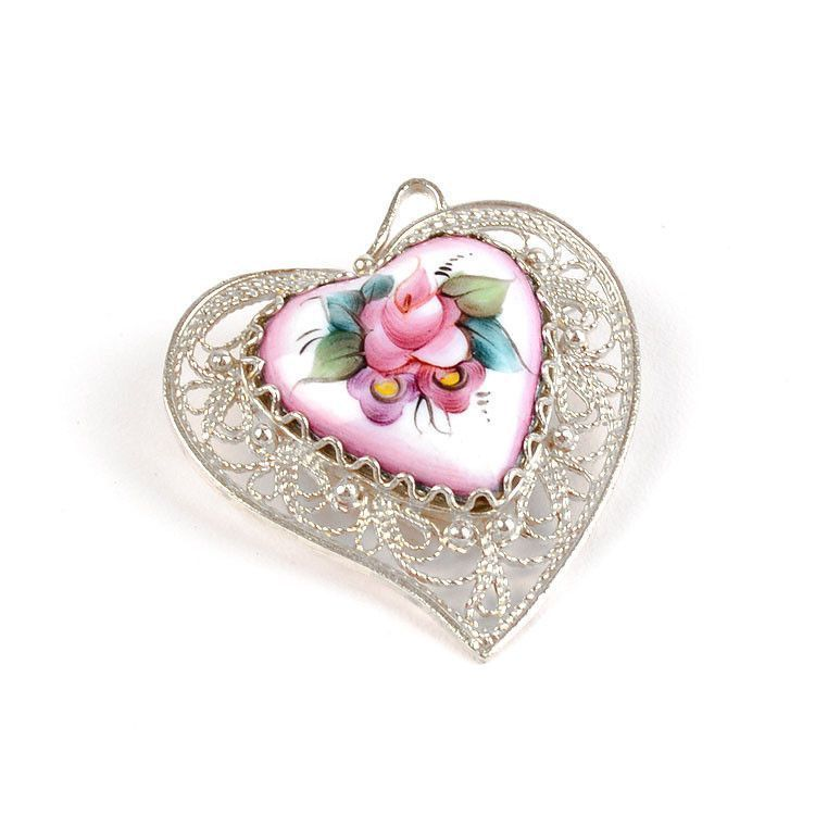 Pink Heart Pendant or Pin