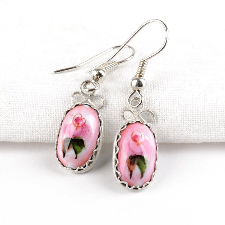Small Pink Finift Earrings