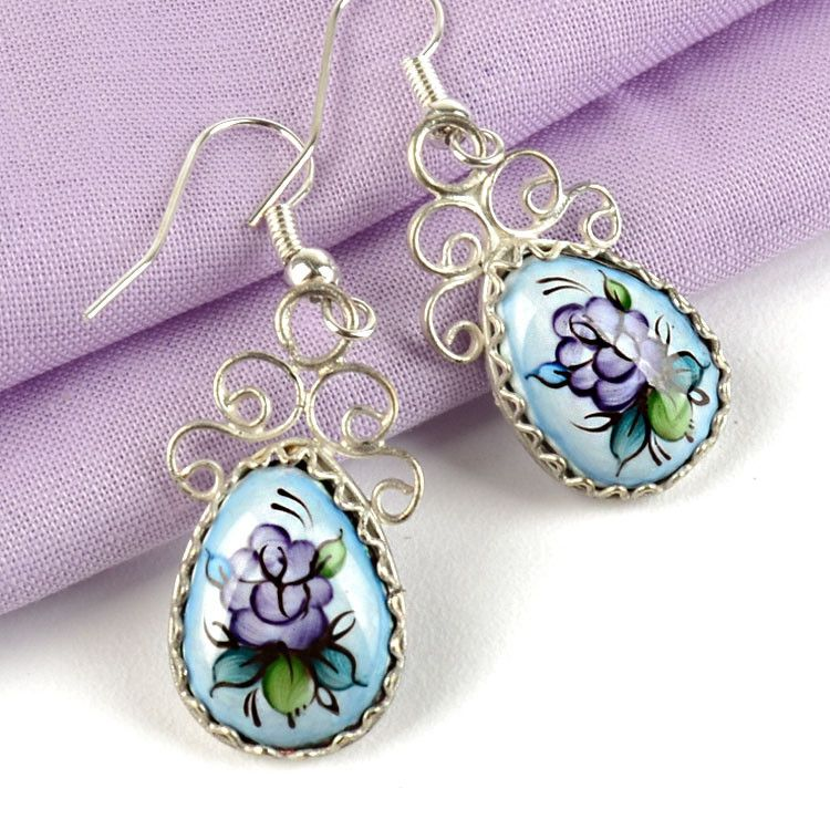 Purple & Blue Finift Earrings