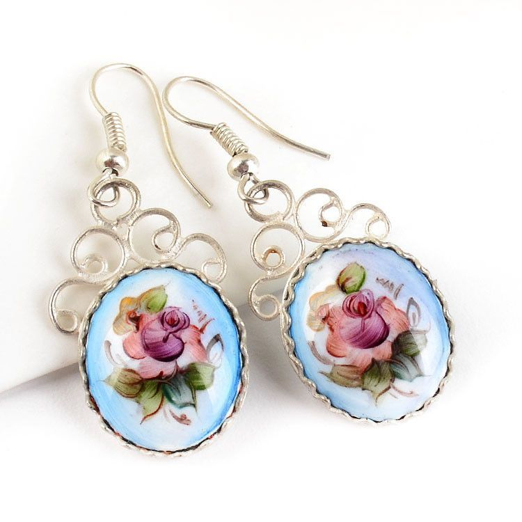 Russian Blue Finift Earrings