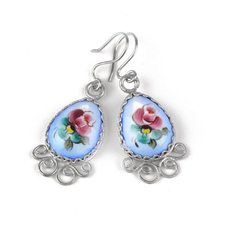 Blue Finift Earrings from Russia