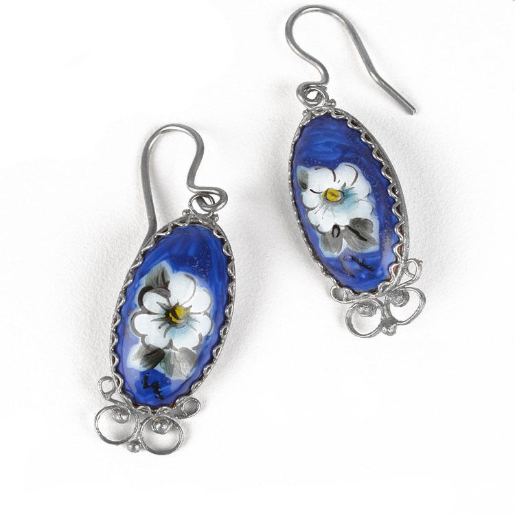 Dark Blue Finift Earrings