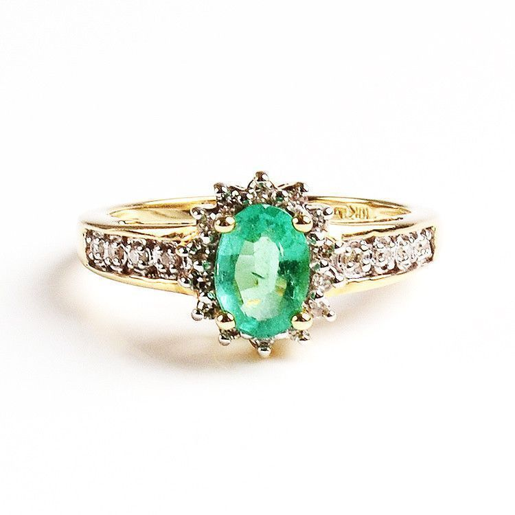 Emerald & Diamond Ring - 10K Gold