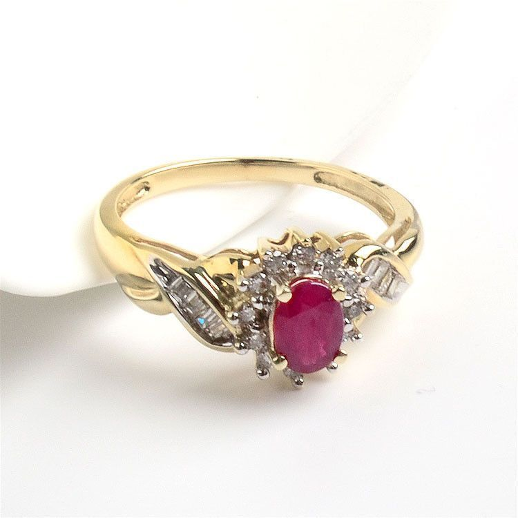 Ruby & Diamond Ring - 14K Gold