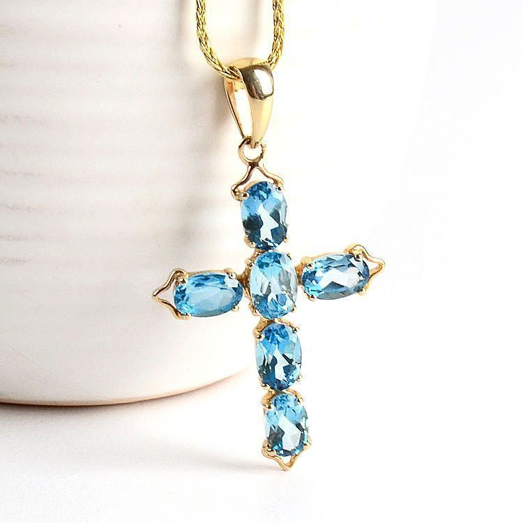 Blue Topaz 14K Gold Cross Pendant