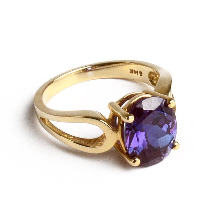 Oval Alexandrite 14K Gold Ring