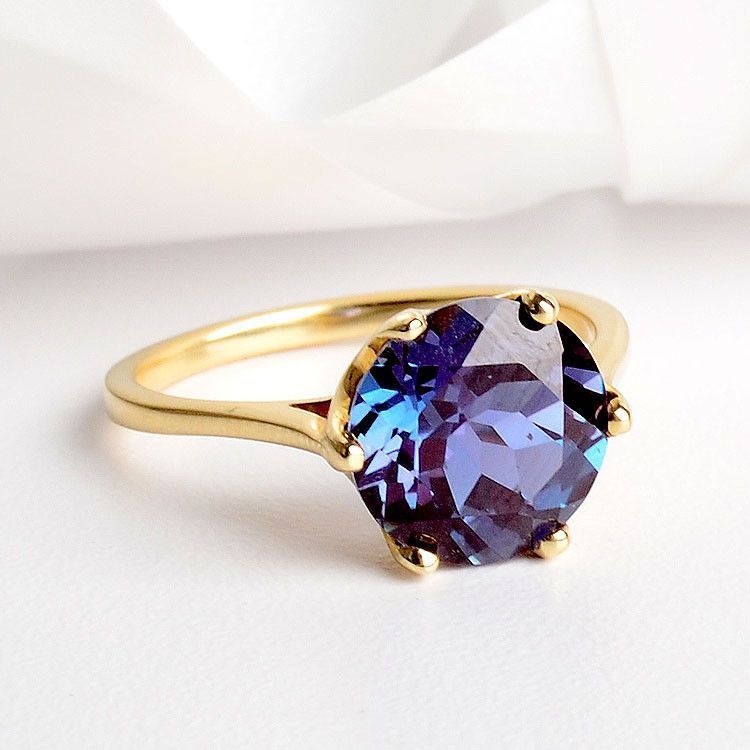 Alexandrite: Round Alexandrite Solitaire 14K Ring - The ...