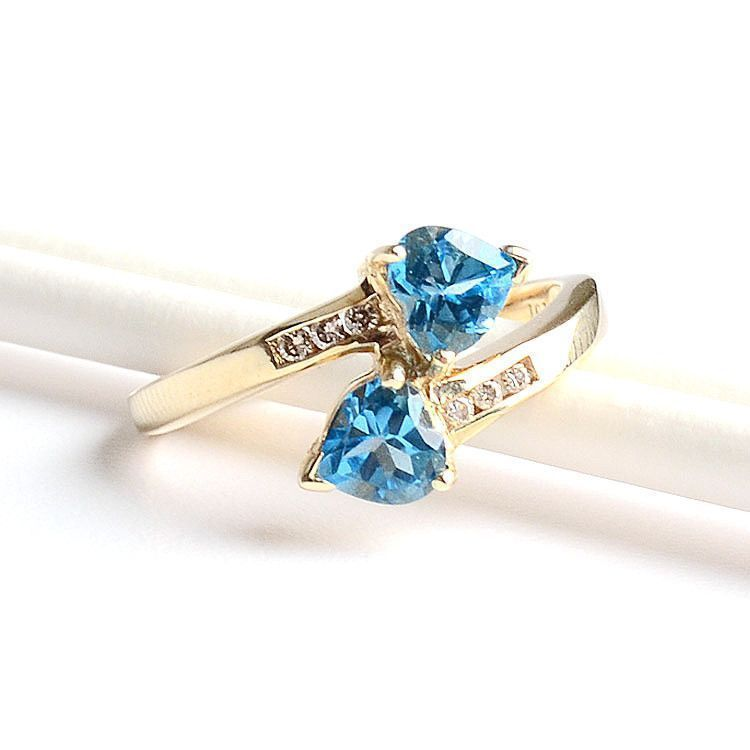 Blue Topaz Two Hearts Ring