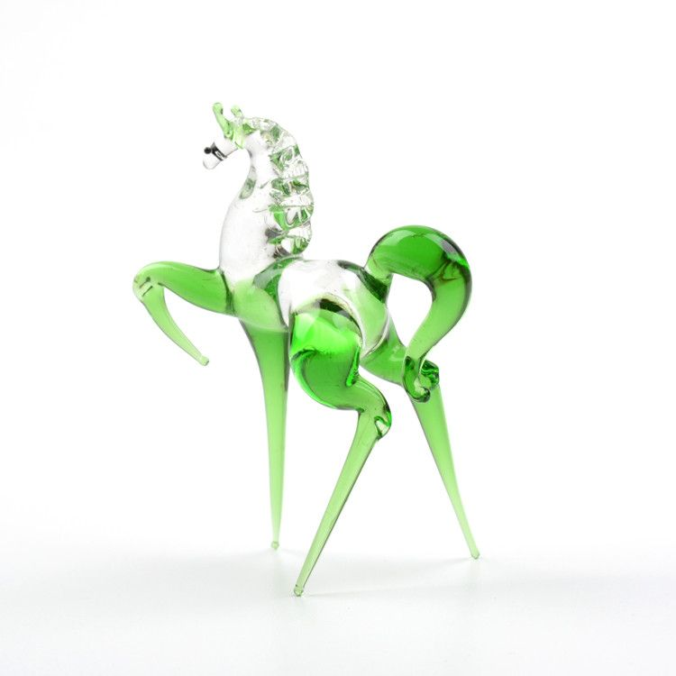 Green Stallion Miniature Glass Figurine