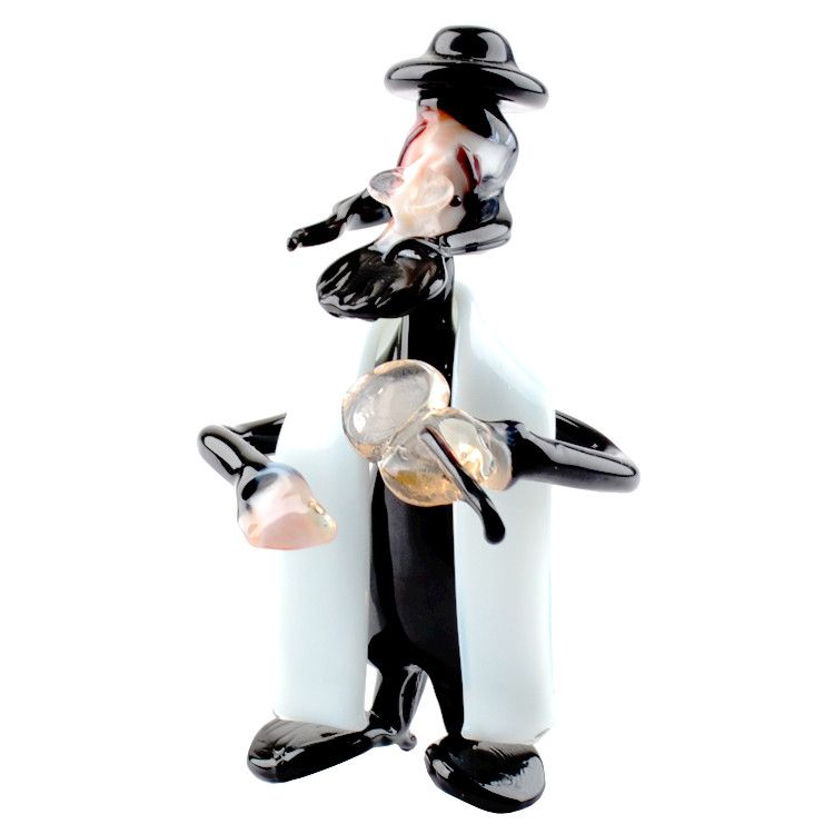 Rabbi with Fiddle Glass Figurine