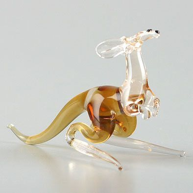 Small Kangaroo Glass Figurine